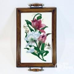 Фаянсовый поднос с ручками « Тюльпаны»